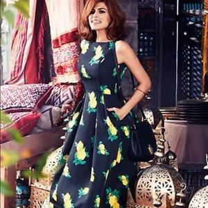 Eva Mendes Navy Felicity Lemon Print Dress Size 6